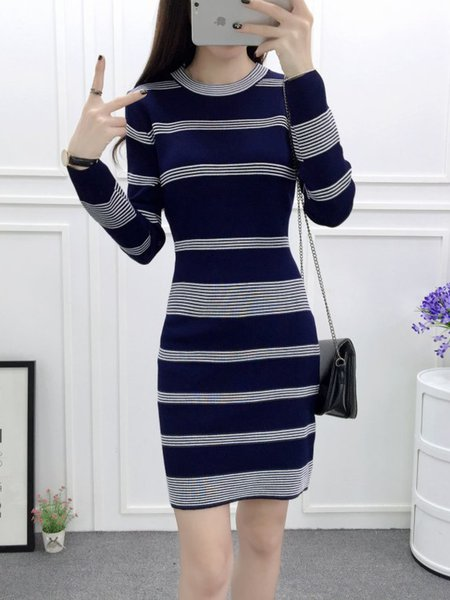 Casual Knitted Long Sleeve Stripes Dress