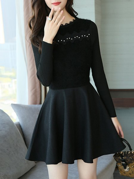 Women Casual Dress Crew Neck A-line Casual Knitted Dress