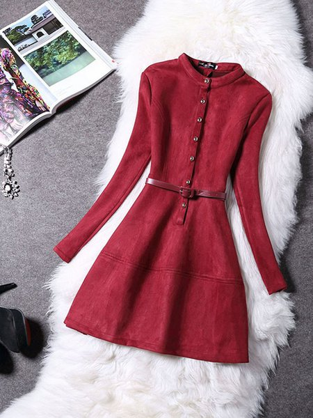 Women Casual Dress Crew Neck Daily Buttoned Solid Dress