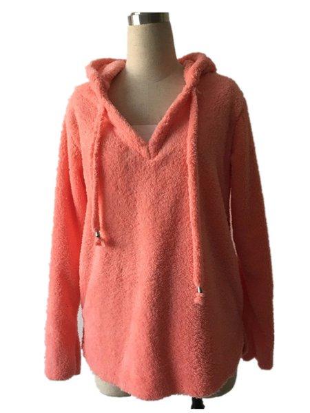 Hoodie Long Sleeve Casual Mohair Sweater