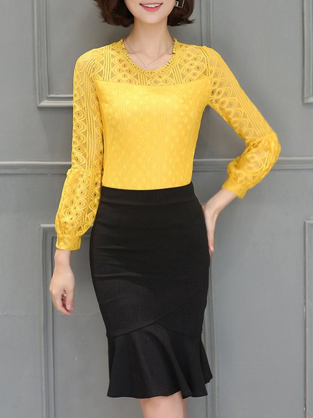 See-through Look Solid Balloon Sleeve Blouse