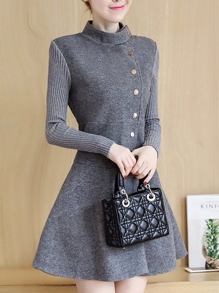 A-line Wool-blend Casual Long Sleeve Paneled Solid Dress