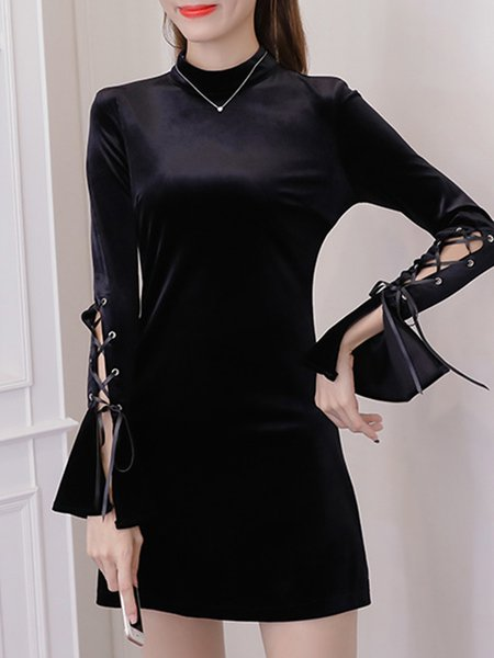 Black Velvet Casual Lace Up Stand Collar  Dress