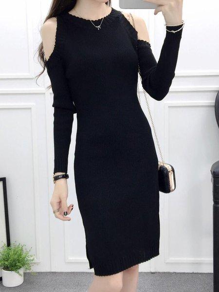 Black Knitted Cold Shoulder Long Sleeve Dress