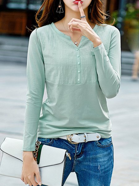 V Neck Long Sleeve Buttoned Solid  T-Shirt