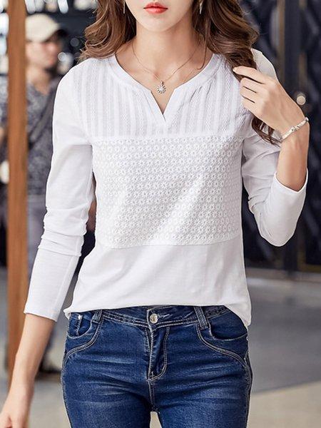 Long Sleeve Eyelet V Neck Solid  T-Shirt