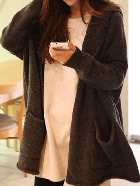 Deep Gray Knitted Casual Pockets Cardigan