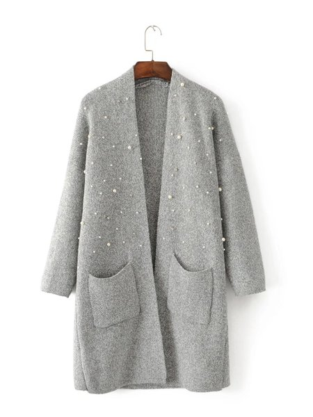Beaded Solid Long Sleeve Pockets Knitted Cardigan