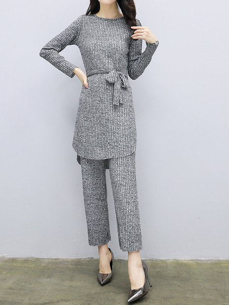 Solid Knitted Two Piece Long Sleeve Women's Sets