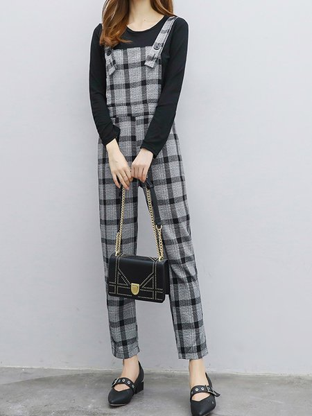 Plaid Long Sleeve Casual Two Piece Casual Women's Set
