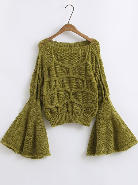Casual Bell Sleeve Knitted Solid Boat Neck Sweater
