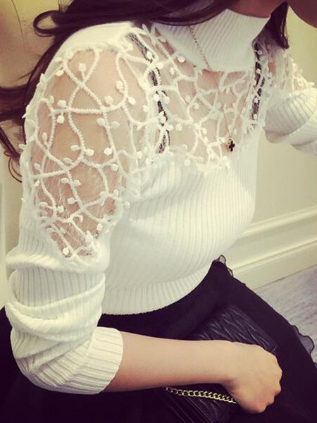 Paneled Casual Knitted Long Sleeve  Sweater