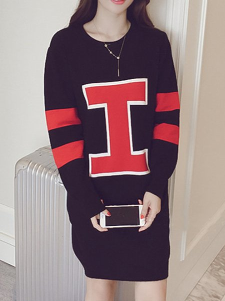 Letter Printed Long Sleeve Casual  Dress