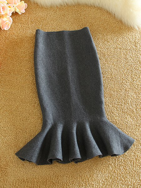 Solid Knitted Elegant Mermaid Skirt