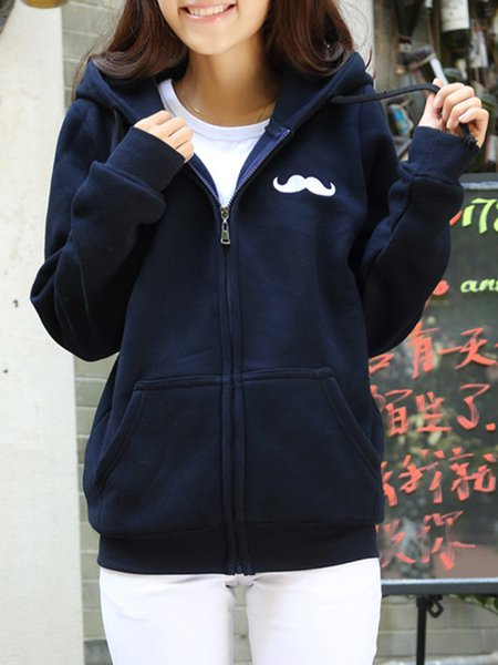 Long Sleeve Graphic Casual H-line Hoodie Bomber Jacket