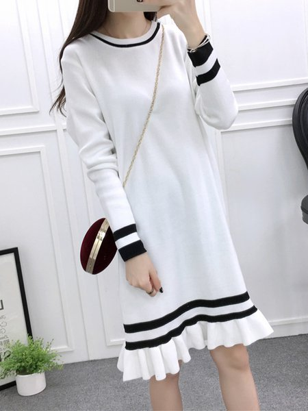 Knitted Crew Neck Stripes Long Sleeve Dress