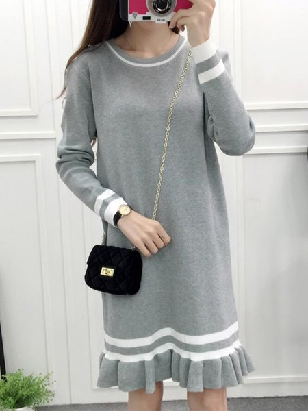 Casual Stripes Knitted Crew Neck Long Sleeve Dress