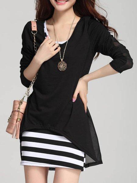 Black Stripes Long Sleeve Two Piece Asymmetric Women's Set