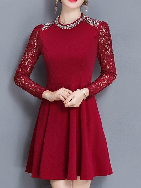 Paneled A-line Long Sleeve Elegant Crocheted Dress
