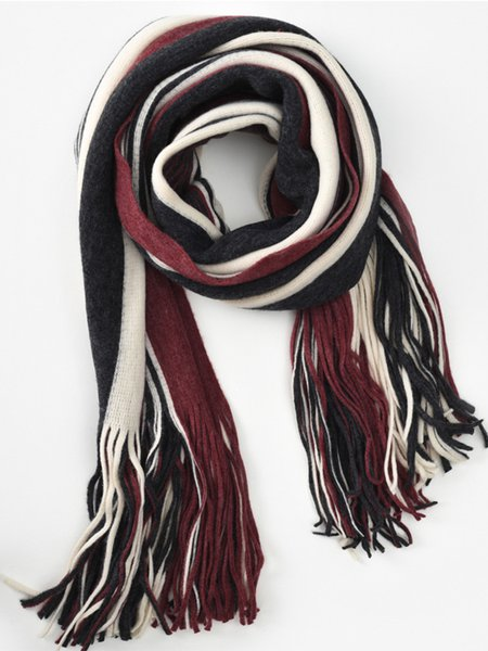 Stripes Fringed Casual Scarf