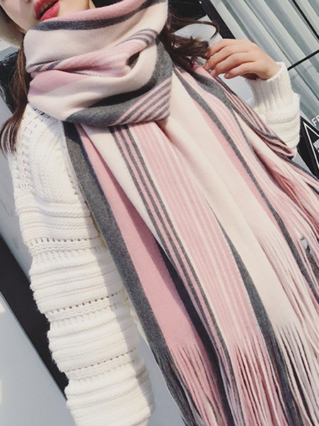Fringed Casual Stripes Scarf