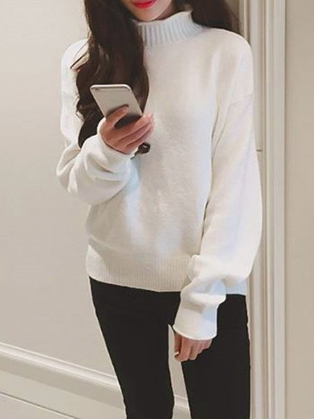 Turtleneck Solid Long Sleeve Knitted Sweater