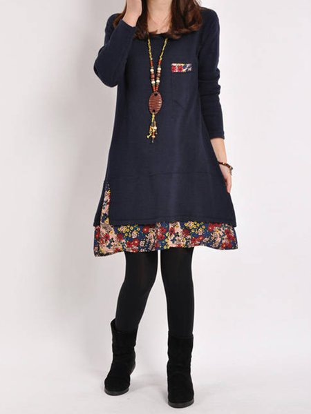 Casual Floral A-line Paneled  Fleece-lined Dress