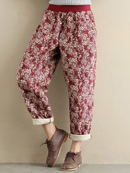 Floral Casual Pockets Pants