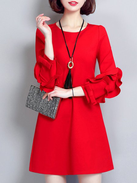 Women Casual Dress Crew Neck A-line Going out 3/4 Sleeve Bow Dress