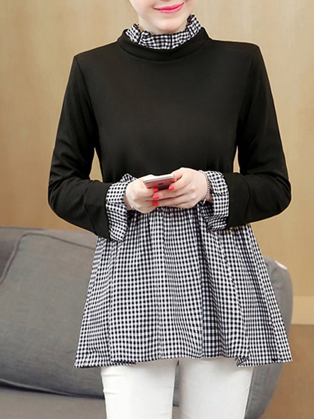 Black Long Sleeve Paneled A-line  Blouse