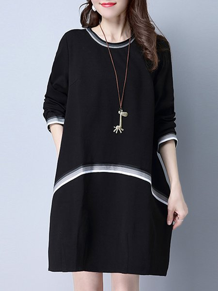 Black Pockets Printed Long Sleeve Casual Dress