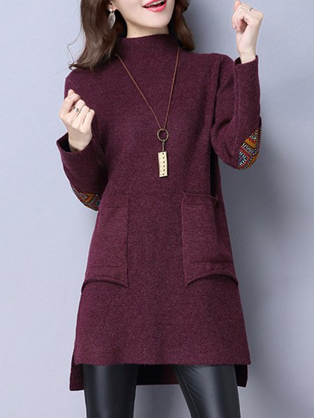 Patch Stand Collar Long Sleeve Knitted Sweater