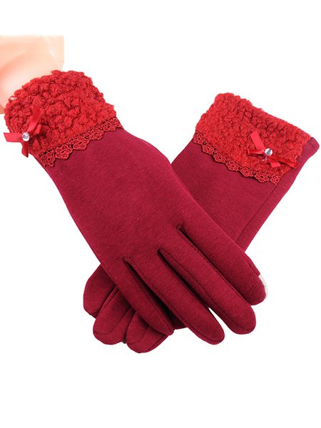 Fleece-lined Women Casual Solid Gloves