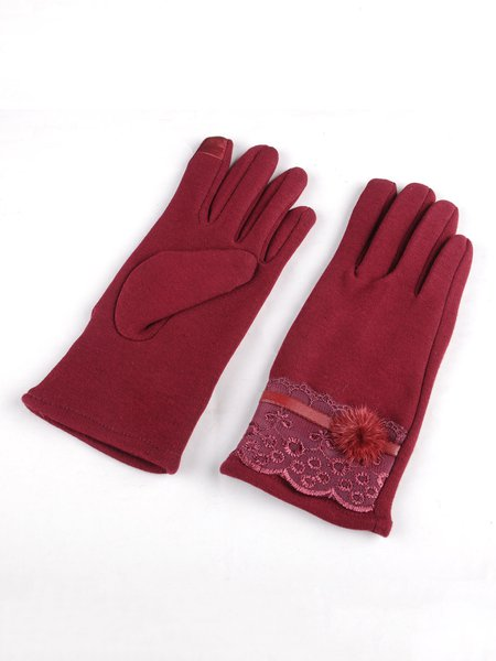 Fleece-lined Casual Solid Gloves