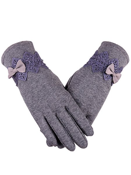 Fleece-lined Solid Bow Casual Gloves