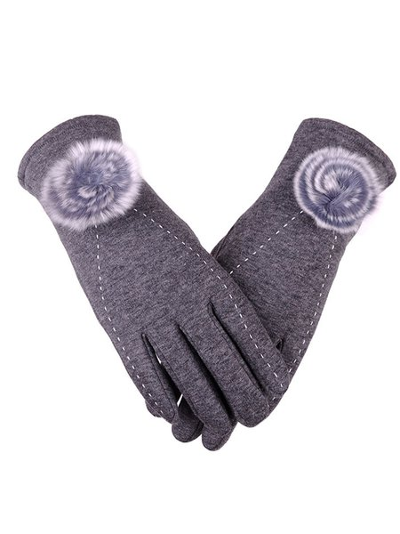 Fuzzy Ball Casual Fleece-lined Solid Gloves