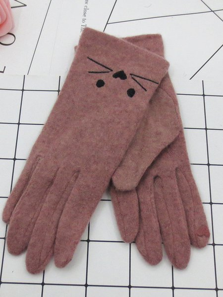 Women Cute Embroidered Casual Gloves