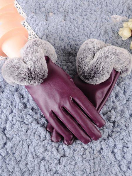 Fuzzy Ball Fleece-lined Casual PU Gloves