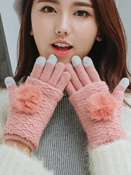 Fuzzy Ball Knitted Solid Casual Gloves