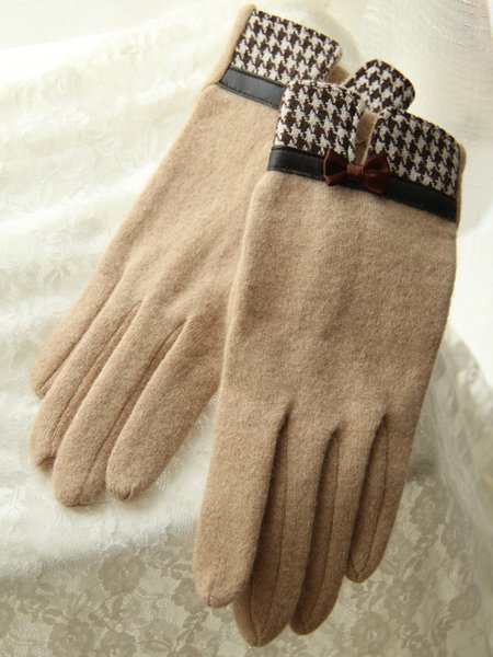 Bow Casual Houndstooth Women Gloves