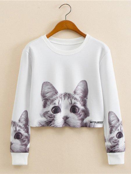 White Crew Neck Long Sleeve Animal  Printed Sweatshirt