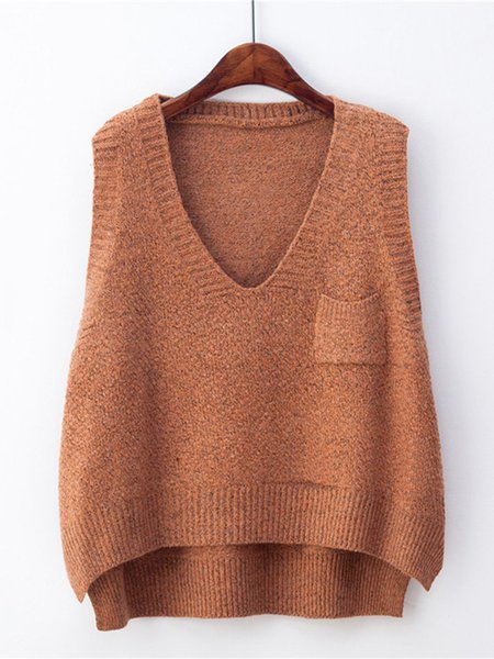 High Low V Neck Sleeveless Solid Casual Sweater