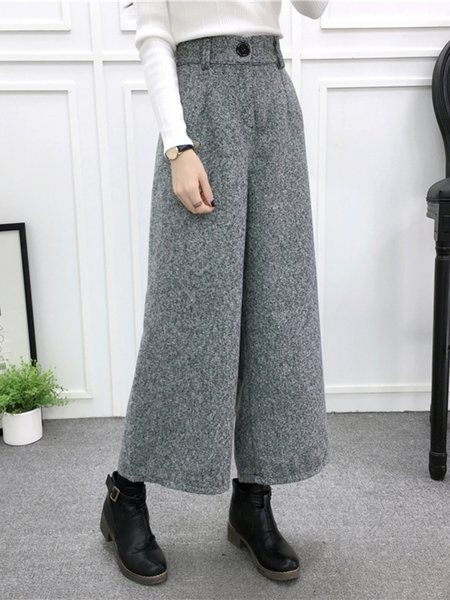 Solid Buttoned Wool-blend Casual Wide Leg Pants