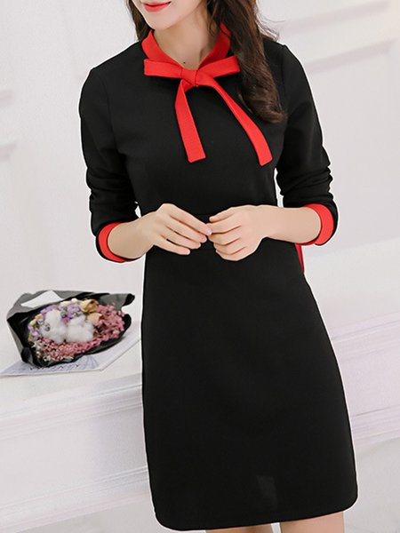 Black Long Sleeve Tie-neck Bow Casual Dress