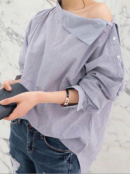 Buttoned Stripes Long Sleeve Slash Neck Casual Blouse