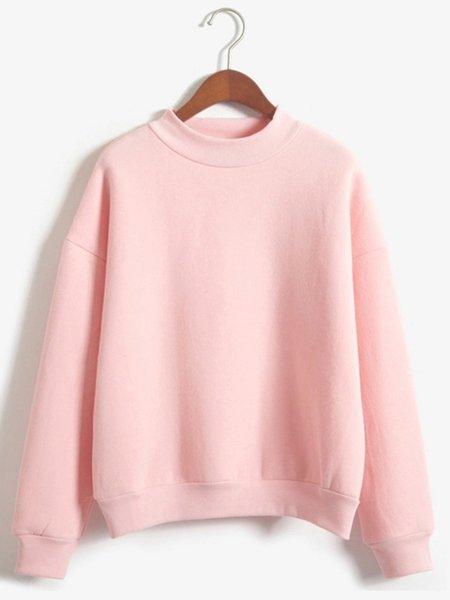 Fleece-lined Casual Solid Stand Collar Sweatshirt