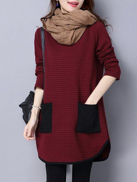 Women Casual Dress Crew Neck Asymmetrical Daily Casual Pockets Dress