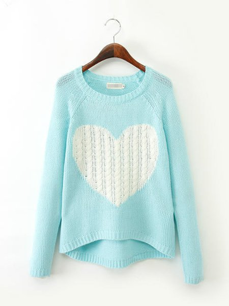 Casual Knitted Long Sleeve Geometric Sweater