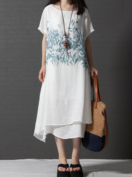White Printed Batwing Casual Dress