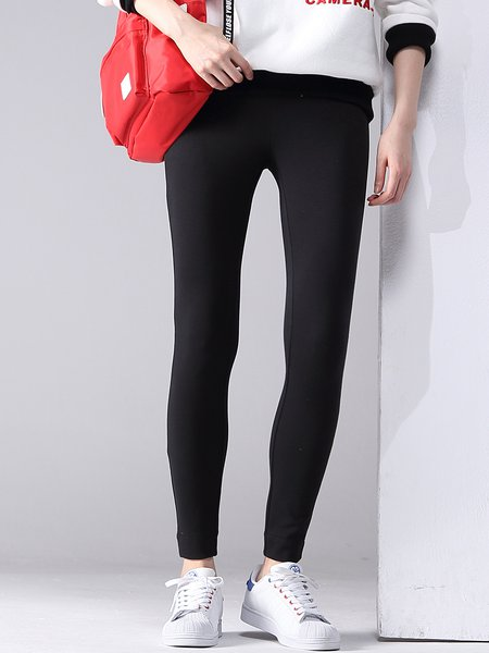 Black Plain Viscose Casual Sheath Legging